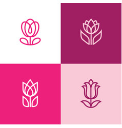 Four tulip icons vector