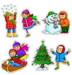 kids in winter vector image vector image