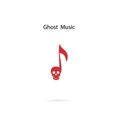 musical note sign and human skull icon logo vector image
