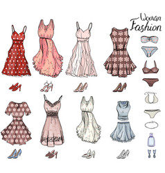 pack with woman dressesshoes and bra objects on vector image vector image