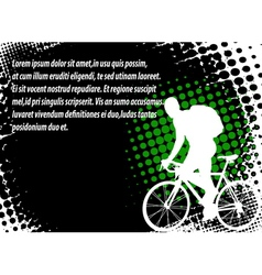 bicyclist halftone background vector image vector image