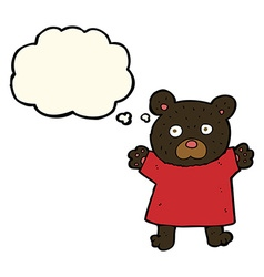 cartoon cute black bear with thought bubble vector image