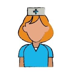 cartoon nurse uniform hat cross attention vector image vector image