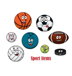 Cartoon sport ball characters vector image