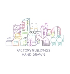 Factory buildings hand drawn sketched vector image vector image
