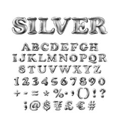 full english alphabet of silver inflatable vector image vector image