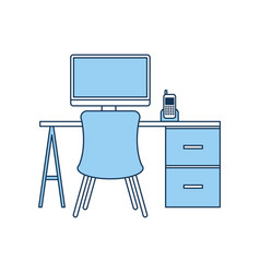 office workplace escene icon vector image vector image