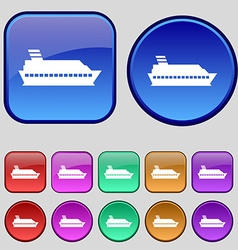 Cruise sea ship icon sign A set of twelve vintage vector image