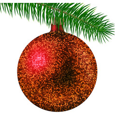 red christmas ball or bauble and fir branch vector image vector image