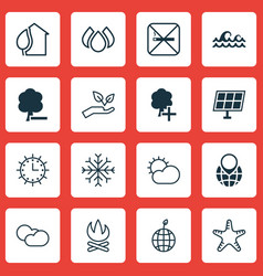Set of 16 ecology icons includes aqua clear vector