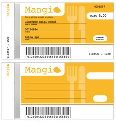 ticket for the restaurant vector image vector image