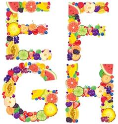 Alphabet from fruit EFGH vector image