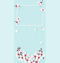 frame and fllower on blue vector image