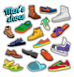 mens fashion shoes and boots set for stickers vector image