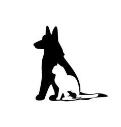 Mouse cat dog silhouette vector image vector image