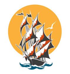 sail ship colorful emblem vector image vector image