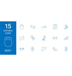 15 body icons vector
