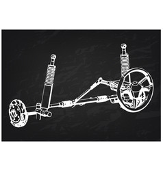 3d model of steering column and car suspension vector image
