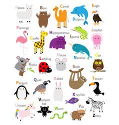 Animal zoo abc alphabet cute cartoon set baby vector