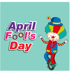 april fools day a jester riding one wheel bike bac vector image