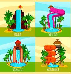 Aqua park flat design concept vector