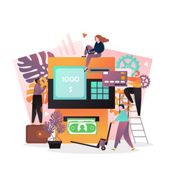 Atm transactions concept for web banner vector