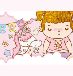 baby girl with unicorn and party flags vector image