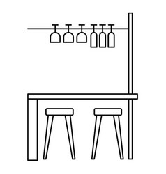 bar furniture icon outline style vector image