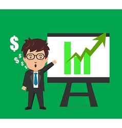 Business man characters presentation plan graph vector image