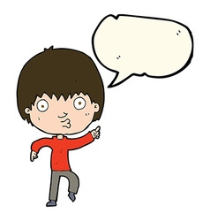 Cartoon impressed boy pointing with speech bubble vector