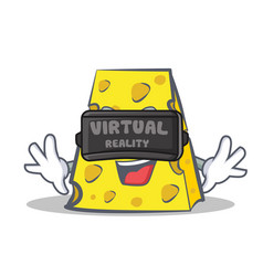 Cheese character cartoon style with virtual vector