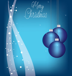 christmas balls on blue background with snow vector image