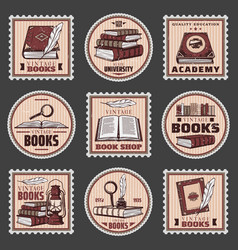 colored education and bookstore stamps set vector image