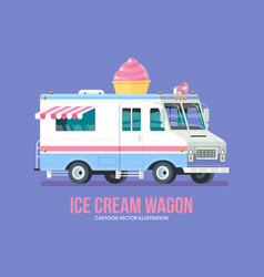 Colorful ice cream truck modern flat vector