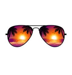 cool aviator sunglasses sunset beach vector image