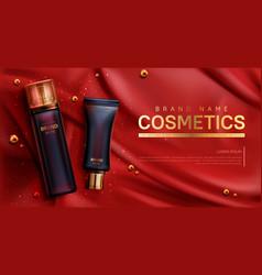 Cosmetics bottles mockup banner beauty body care vector