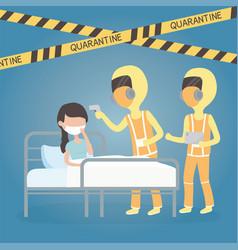 Covid 19 virus quarantine medical staff with sick vector