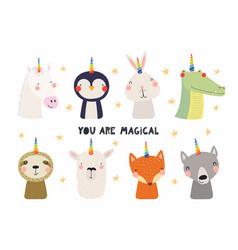 Cute animals with unicorn horn set vector