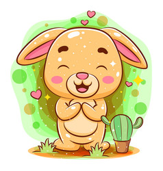Cute barabbit sitting and laughing get vector