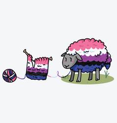 Cute gender fluid fluffy sheep cartoon vector