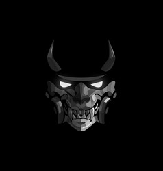 demon mask of the samurai with luminous eyes vector image