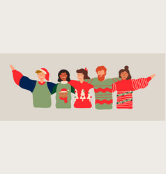 Diverse friend group banner for christmas party vector