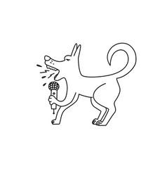 Dog sings karaoke vector