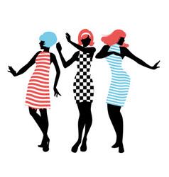 Elegant silhouettes of three girls wearing vector