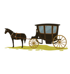 Equine transport in medieval city or town vector
