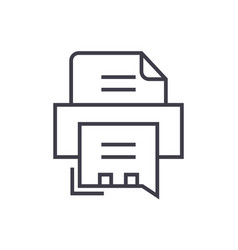 Fax printer line icon sign vector