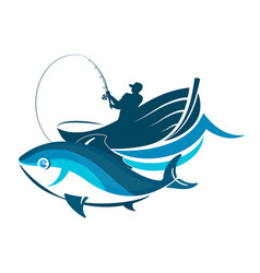 fish and fisherman in a boat vector image