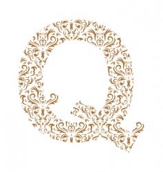 floral letter q ornament font vector image