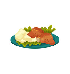 Fried chicken meat and mashed potatoes tasty dish vector