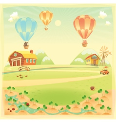 Funny landscape with farm and hot air balloons vector